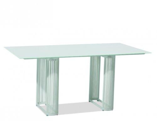 QUEEN'S GARDEN Smart Tisch, 160x90cm, weiß/weißEdelstahl weiß / Gardino®-FLIP weiß / Tischplatte Glas weiß