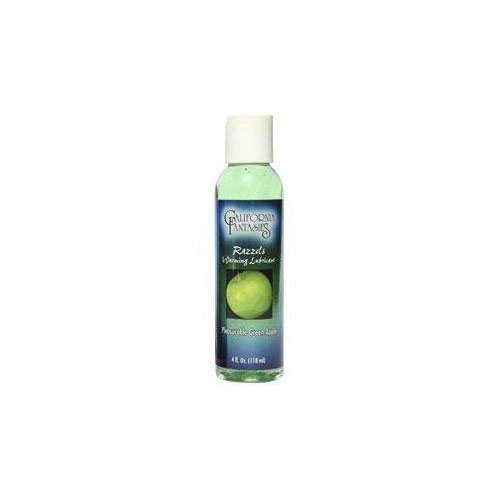 California Fantasies Razzels Flavored Warming Lubricant, 4 oz, Green Apple