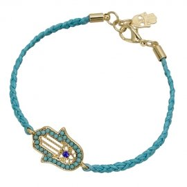Braided Turquoise Cord Hamsa/Hand of Fatima Beaded Bracelet - Adjustable