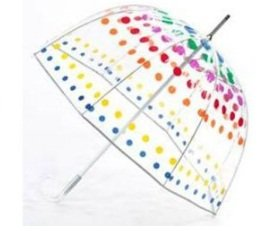 Clear Bubble Umbrella with Primary Dots