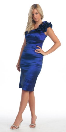 One Shoulder Bridesmaid Prom Short Dress #804 (4, Royal Blue)
