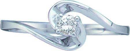 10k White Gold Round Diamond Promise Ring Engagement Womens Swirl Solitaire WG