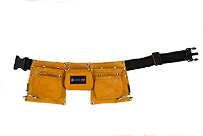 Active Kyds Premium Kids Leather Tool Belt, Steel Hammer Loops