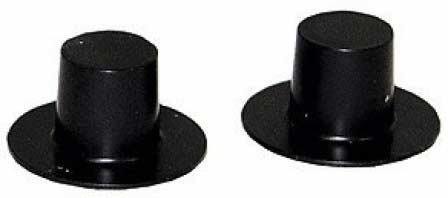Top Hat - Black Plastic - 24 x 15mm