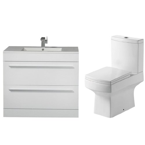 2 Piece Toilet & Basin Vanity Unit Bathroom Furniture Suite