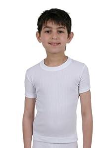 Set of 2 : Children/Boys Thermal Underwear - Short Sleeved Vests - White & Charcoal