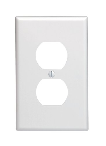 Leviton 80503-W 1-Gang Duplex Device Receptacle Wallplate, Midway Size, Thermoset, Device Mount, White