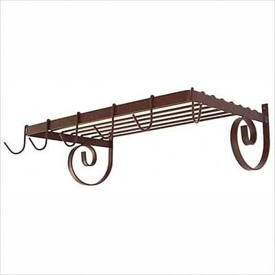 Cheap Wall Mount Pot Rack-6 hooks (Gun Metal) (8″H x 25″W x 13″D) (GMC-WR24 (GM))