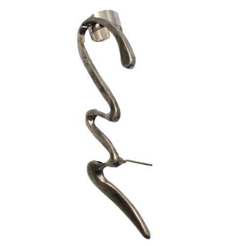 Zehui Silver Stylish Women Punk Rock Snake Waviness Ear Cuff Clip Earring (Right earring)