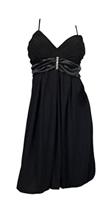 eVogues Black Wrap Bodice Empire waist plus size Dress - 1X