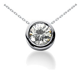 .65CT Round Bezel Solitaire Real Diamond Pendant 14K White Gold