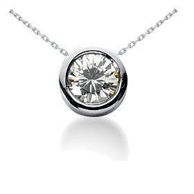 .65CT Round Bezel Solitaire Real Diamond Pendant