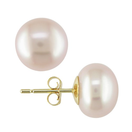 14k Yellow Gold Freshwater Pink Pearl Stud Earrings
