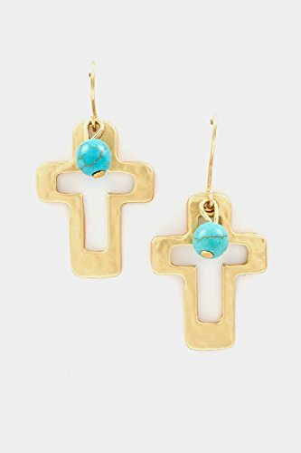 Trendy Fashion Jewelry Hammered Cross Cut Dangle Earring By Fashion Destination | (Matted Gold)