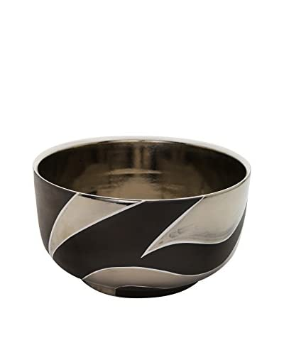Waylande Gregory Mod Zebra Large Chubby Bowl, Brown/Platinum