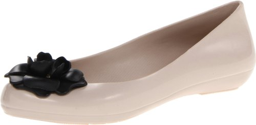 mel Dreamed by melissa Women's Pop Heart Flat,Beige/Black Flower,6 M US Picture