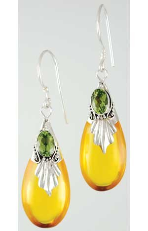 Amber Drop with Peridot Earrings