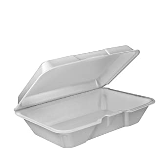 Dart 205HT1 9.3 Inch Length 6.4 Inch Width 2.9 Inch Height Single Compartment Foam Hinged Lid Carryout White Container 100-Pack (Case of 2)