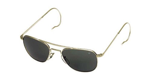 AO Original Pilot Sunglasses, Gold, Comfort Cable, True Color Gray Glass Lens, 52mm 30012