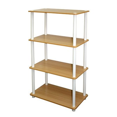 Furinno 99557BE/WH 4-Tier Tube Shelf, Beech and