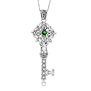 "1/5 Carat Emerald & Sterling Silver Filigree Key Pendant with 18"" Chain"