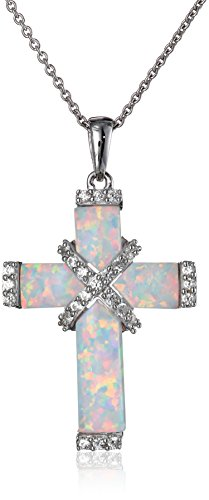 """Sterling Silver Simulated Opal and Created White Sapphire Cross Pendant Necklace, 18"""""""