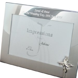 Personalised Silver Plated Photo Frame with Cross