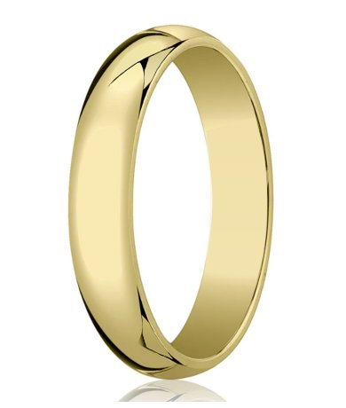 Men's Designer 10K Yellow Gold 6mm Traditional Wedding Ring with Classic Domed Profile and Polished Finish