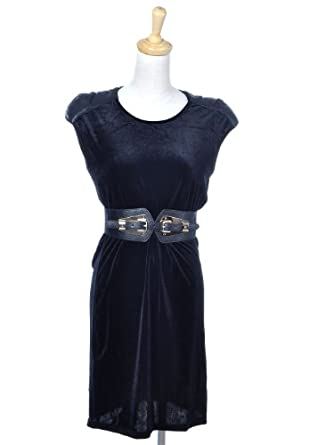 Anna-Kaci S/M Fit Black Sleeveless Roundneck Velvet Like Belted Fashion Dress