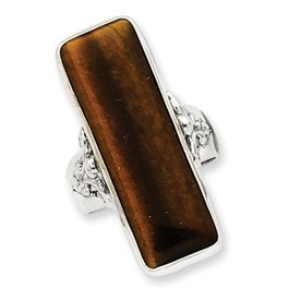 Genuine IceCarats Designer Jewelry Gift Sterling Silver Rectangle Tiger Eye Ring Size 8.00