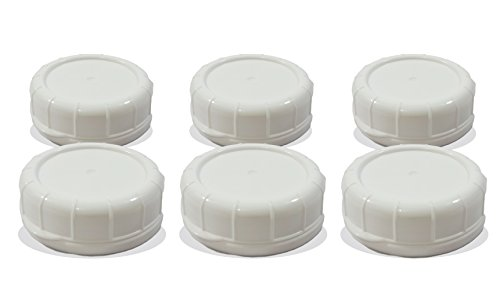 Replacement Glass Milk Bottle Lids 48 mm Caps for Libbey and Stan-Pac (6 Pack White)
