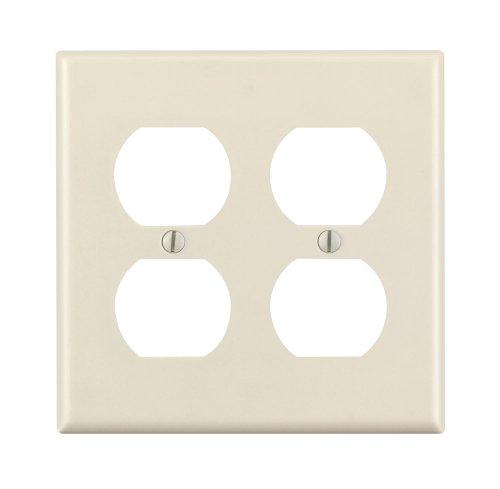 Leviton 78016 2-Gang Duplex Device Receptacle Wallplate, Standard Size, Thermoset, Device Mount, Light Almond
