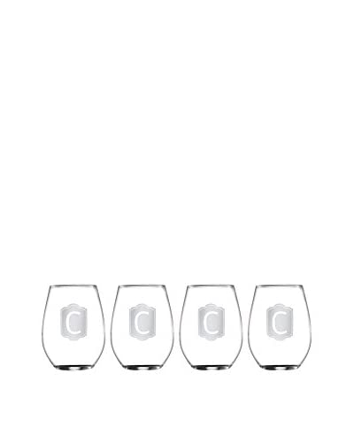 Jay Imports Set of 4 Monogram C Stemless Wine Glasses