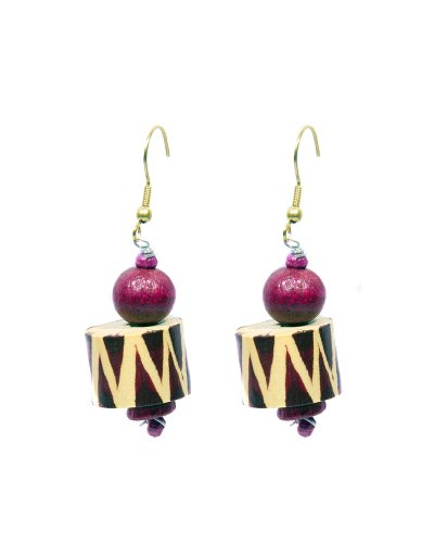 Fashion Indosheen Plum Zig Zag Wooden Earrings Fashion Earring For Women (Violet)