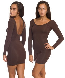 American Apparel Cotton Spandex Jersey Double U-Neck Long Sleeve Mini Dress