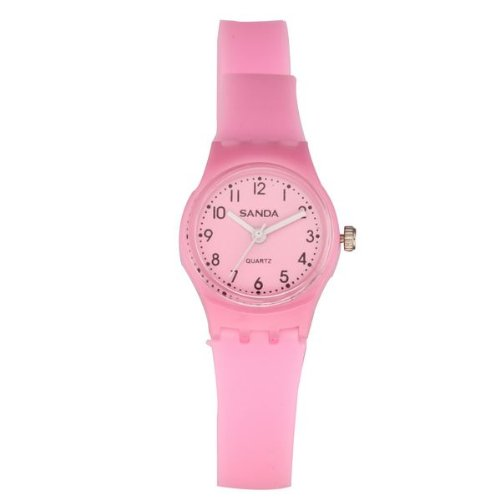 BestOfferBuy Casual Long Band Silicone Double Wrap Watch Analog Pink