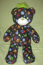 Build-a-Bear-Rock-Roll-Black-Bear-Green-Mohawk-Plush-Mp3-Ipod-Hookup-Speaker