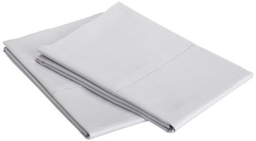 Pinzon Hemstitch 400-Thread-Count Egyptian Cotton Sateen Standard Pillowcase, Set Of 2, Light Grey