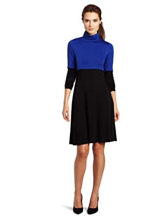 Karen Kane Women's Color Block Turtleneck Dress, Black with Blue, Small