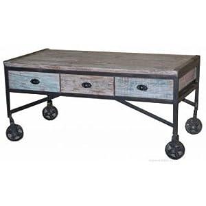 ARTeFAC ART 0140 Industrial Coffee Table On Wheels