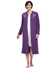 Floral Embroidered Fleece Dressing Gown