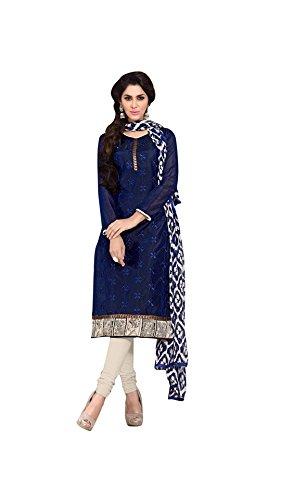 M Fab Emroidered Navy Blue Chanderi Salwar Suit Dupatta Semi-Stiched Dress Material
