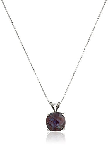 10k White Gold 8mm Checkerboard Cushion Created Alexandrite 4-Prong Pendant Necklace, 18