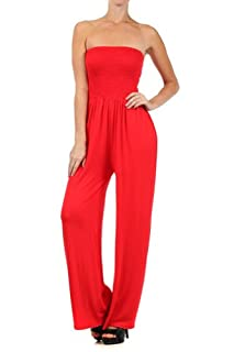 Kiwi Co. Alexa Solid Strapless Jumpsuit Red Large