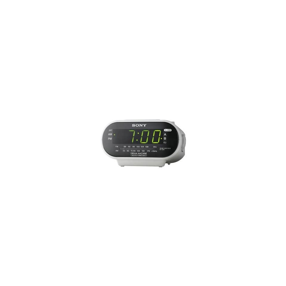 New Sony Clock Radio Green Led Displayed Numbers Automatic Time Set Am Fm Analog Tuner Calendar