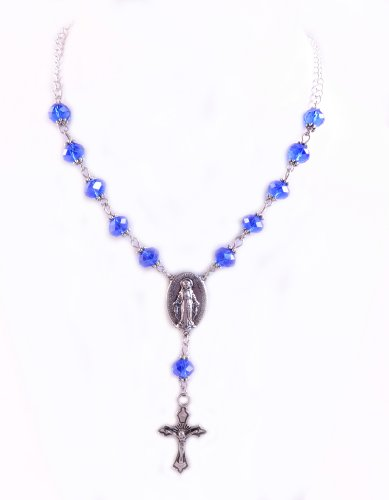 Rosary Necklace Sapphire One Decade Miraculous Medal Crucifix Necklace September Birthstone