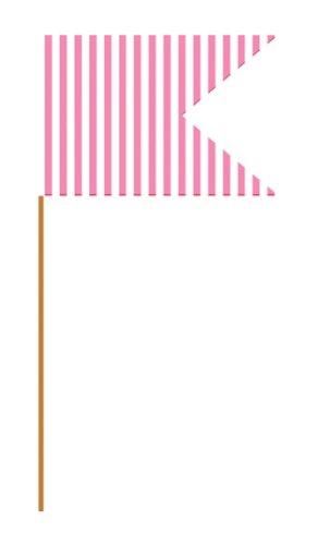 Creative Converting 209243 Pink Striped Mini Flag Food Picks