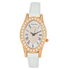 BEING HUMAN L1973 ROSE GOLD PLATED WHITE STRAP WATCH