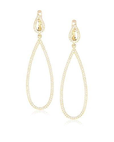 Peermont Jewelry CZ & 18K Yellow Gold-Plated Sterling Silver Open Teardrop Earrings