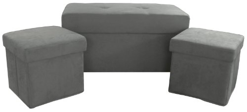 Terrific Epic Furnishings 3 Piece Collapsible Storage Ottoman Table Gmtry Best Dining Table And Chair Ideas Images Gmtryco